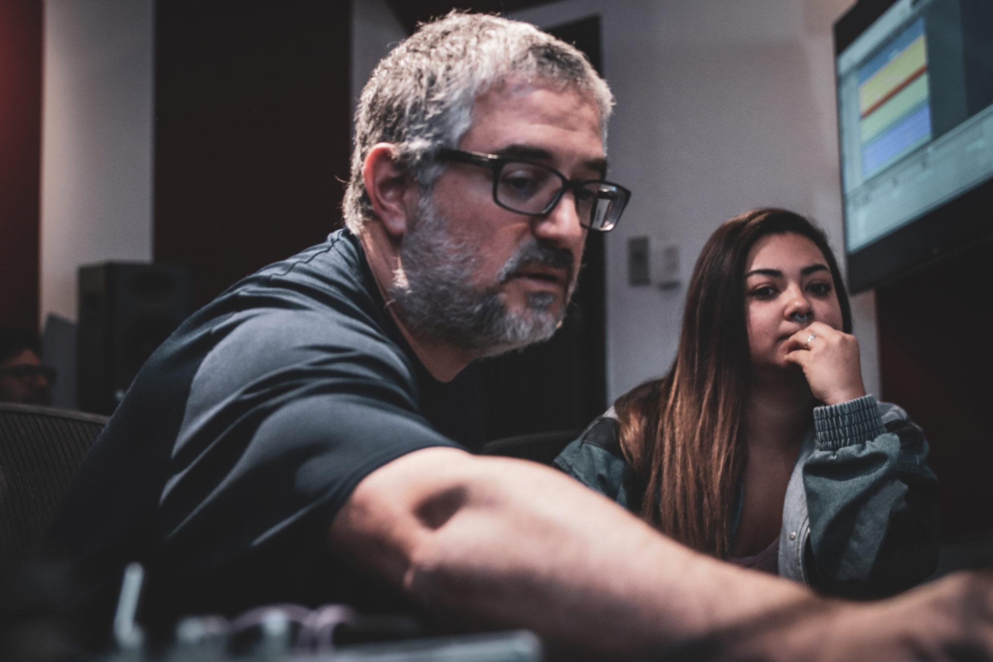 Matt Donner and Student in Studio B at Pyramind