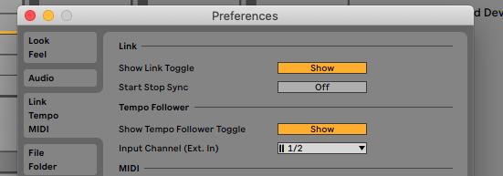 Ableton Live 11 Tempo Follower Button